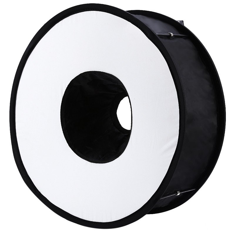 Lightdow 45cm Foldable Ring Speedlite Flash Diffuser Macro Shoot Round Softbox for Canon Nikon Sony Pentax Godox Speedlight 3