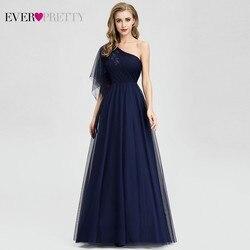 Ever Pretty темно-синие вечерние платья с длинным плечом, а-силуэт, украшенные бисером, вечерние платья EP07938 элегантные платья для вечеринки Robe De ...
