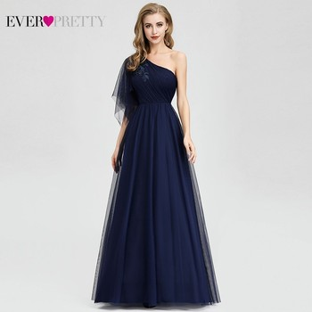 Ever Pretty Navy Blue Evening Dresses Long One Shoulder A-Line Beaded Formal Dresses EP07938 Elegant Party Gowns Robe De Soiree navy blue satin evening dresses ever pretty ep07934nb a line v neck elegant formal long dresses vestidos de fiesta de noche 2020