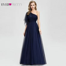 Ever Pretty, темно синие вечерние платья, длинные платья трапециевидной формы с одним плечом и бисером, вечерние платья EP07938, элегантные платья для вечеринки, Robe De Soiree