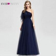 적 꽤 해군 블루 이브닝 드레스 긴 한 어깨 a 라인 페르시 공식 드레스 EP07938 우아한 파티 가운 가운 드 Soiree