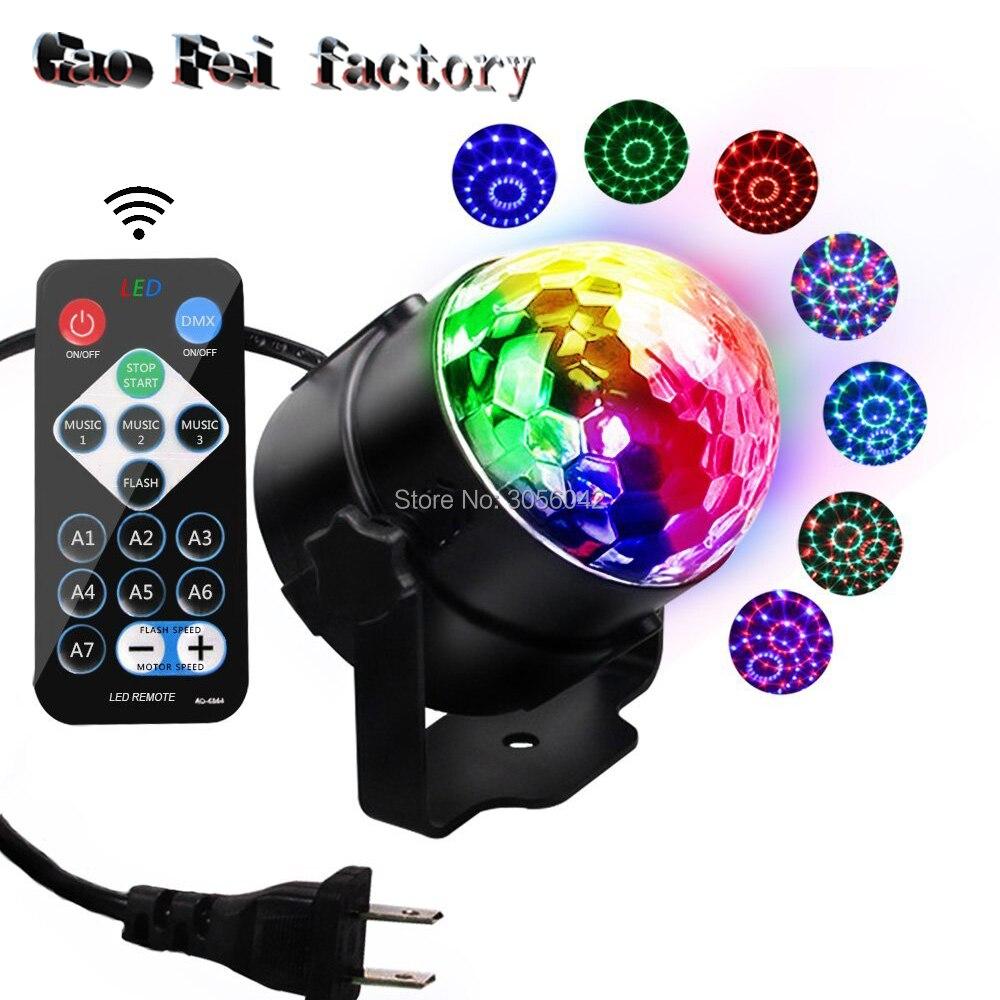 Controle remoto ir led bola mágica de cristal 3 w mini rgb efeito iluminação palco lâmpada festa discoteca