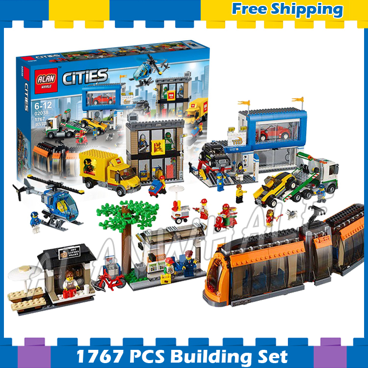 1767pcs City Town Square Train Helicopter Tow Truck Model Building Gift sets Blocks 02038 Assemble Children Compatible With Lego lepin 1767 city town city square building blocks sets brick kid model kids toys for children marvel compatible bela diy gift toy