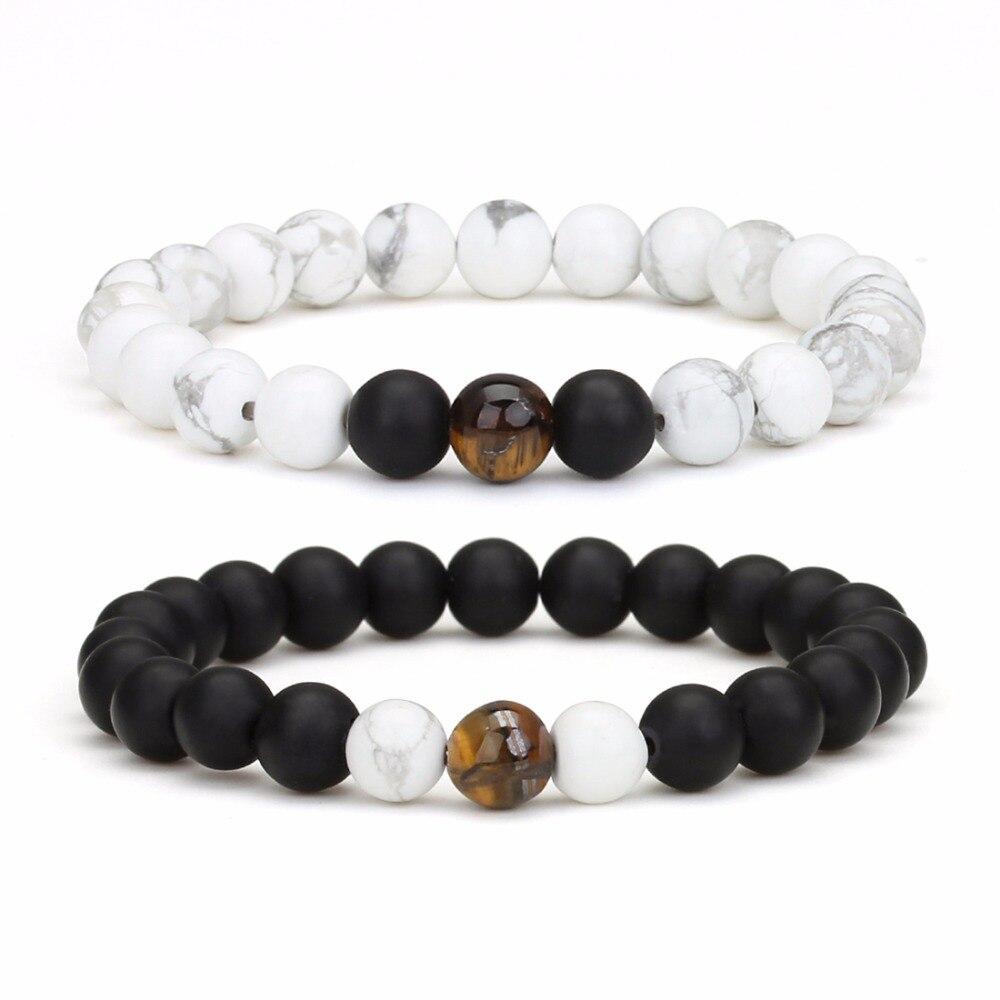 LOULEUR Fashion Natural Stone Created Crystal Beads Bracelet for Men Women Ying Yang Distance Bracelet Men Friendship Jewelry