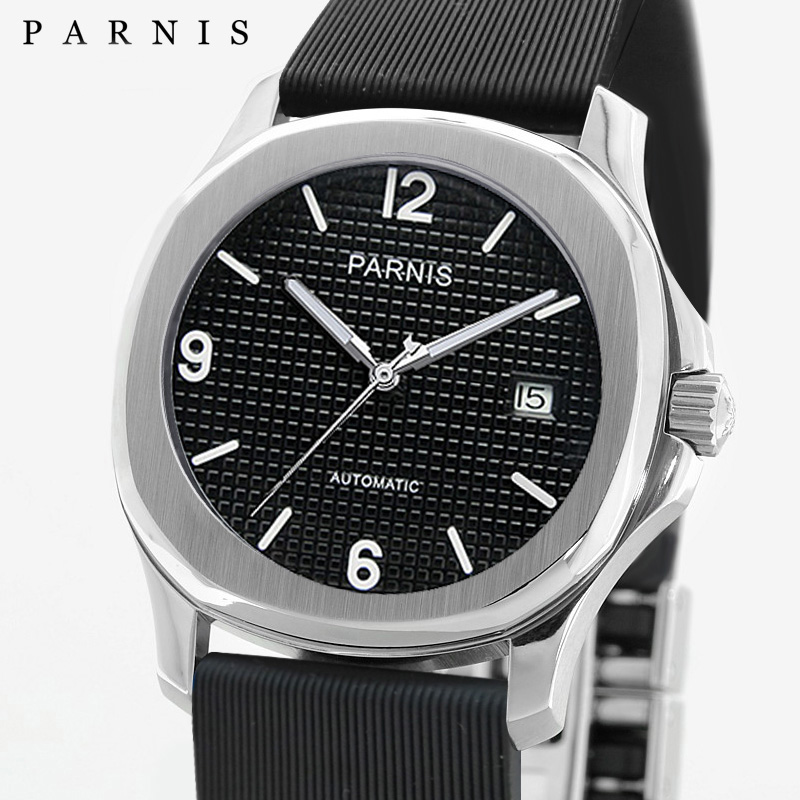 New Parnis Luxury Watch Men Miyota Sapphire Crystal Calendar Waterproof Mechanical Automatic Self-Wind Mens Watches Man ClockNew Parnis Luxury Watch Men Miyota Sapphire Crystal Calendar Waterproof Mechanical Automatic Self-Wind Mens Watches Man Clock