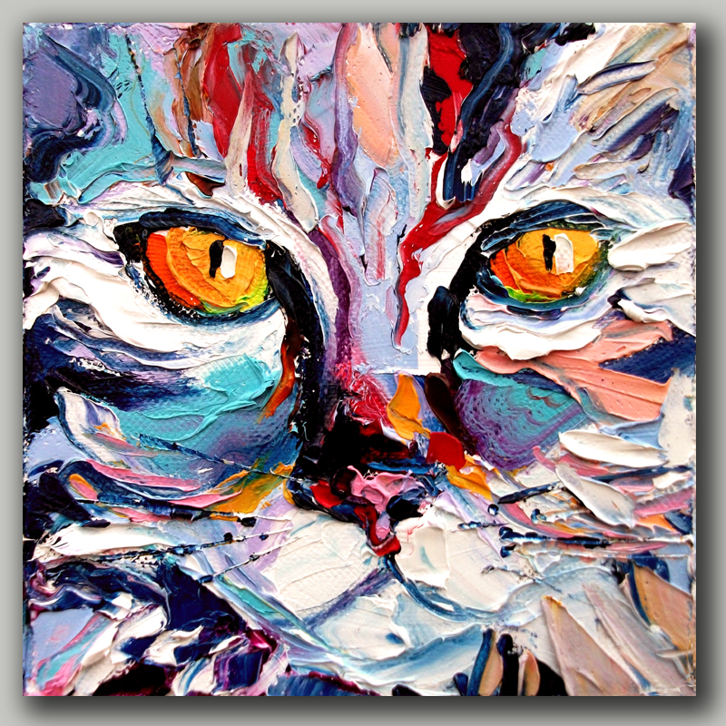 High Skills Artist 100% Hand-painted Cat Oil Painting On Canvas With Frame Handmade Abstract Painting For Office Decoration