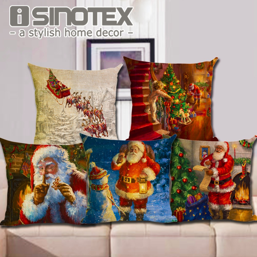 Power Source Merry Christmas Series Cushion Cover Christmas Tree Snowman Printing Santa Claus Linen Throw Pillowcase New Year Gifts 18*18 Customers First