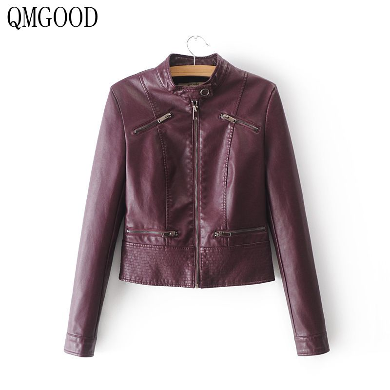 QMGOOD 2018 New Autumn Female Bomb PU   Leather   Jacket Fashion Women's Slim Long Sleeve Short Motorcycle Biker Jacket Coat Women