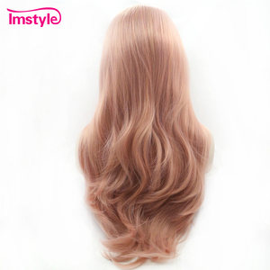Image 2 - Imstyle Pink Wig Lace Front Wigs Synthetic Hair Lace Wig Long Natural Wavy Wigs For Women Heat Resistant Fiber Daily Wig