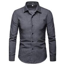 Striped Blouse Mens clothing Casual Shirts Long sleeve New model Blue Fashion