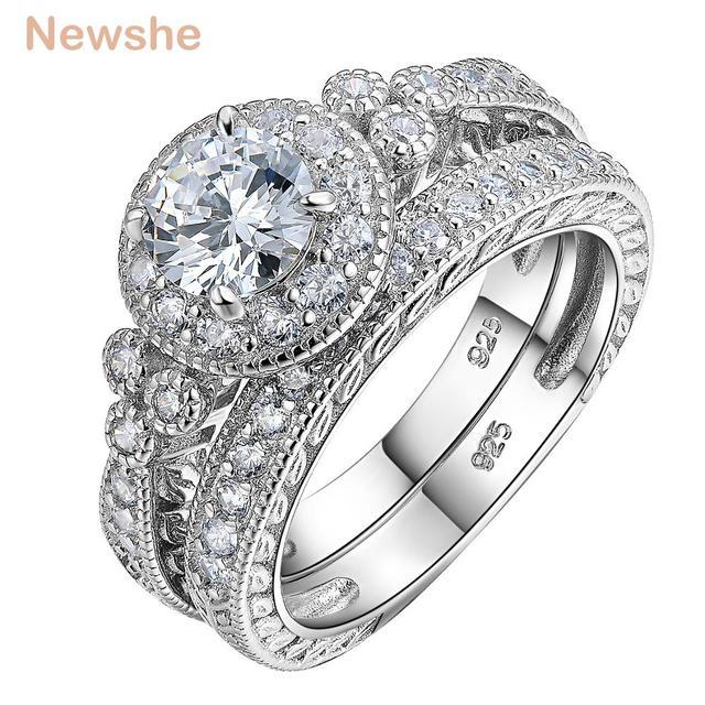 Newshe Conjuntos de anillos de boda de corte redondo AAA CZ para mujer, de plata de ley 1,2, banda de compromiso, joyería clásica para mujer JR4968