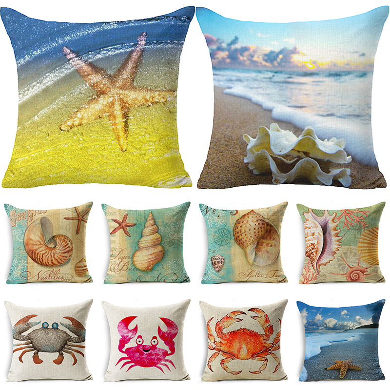 Comwarm Scenic Animals Square Cushion Cover Shells Lovely Whale Prineted Bedroom Pillow Case Linen Cotton Throw Pillow Covers