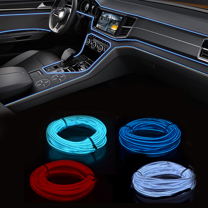 12V EL Wire Car Neon LED Light Decoration Strip Colors LED Lamp Cigarette Lighter Socket Auto Lights Universal Auto Accessories