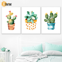 Watercolor Cactus Succulent Flower Wall Art Canvas Painting Nordic Posters And Prints Pictures For Living Room Home Decor