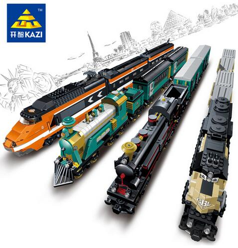 Model building kits compatible with lego city trains rail KTX 3D blocks Educational model building toys hobbies for children цена