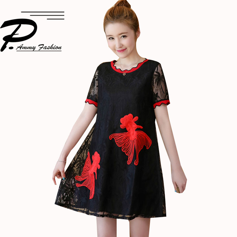 M~4XL Women Short Sleeve Lace Fish Embroidery A-Line Dress 2018 Plus size O- Neck Tunic Dress Baggy Loose Vestidos