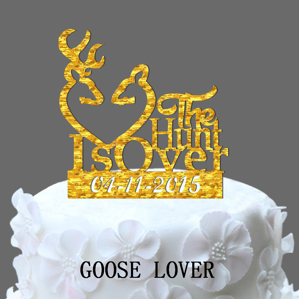 The Hunt Is Over Wedding Cake Topper Buck Doe And Custom Date Cake ...