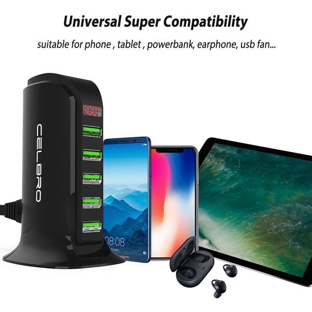5 USB  Port Charging Station, Multi  Dock Universal Cell Phone Home Desktop Charger