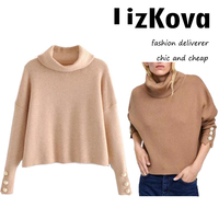 2018 Autumn Women Turtleneck Pullover Sweater Pearl Button Lady Fashion Crop Sweater Loose Knit Jumper Pull femme