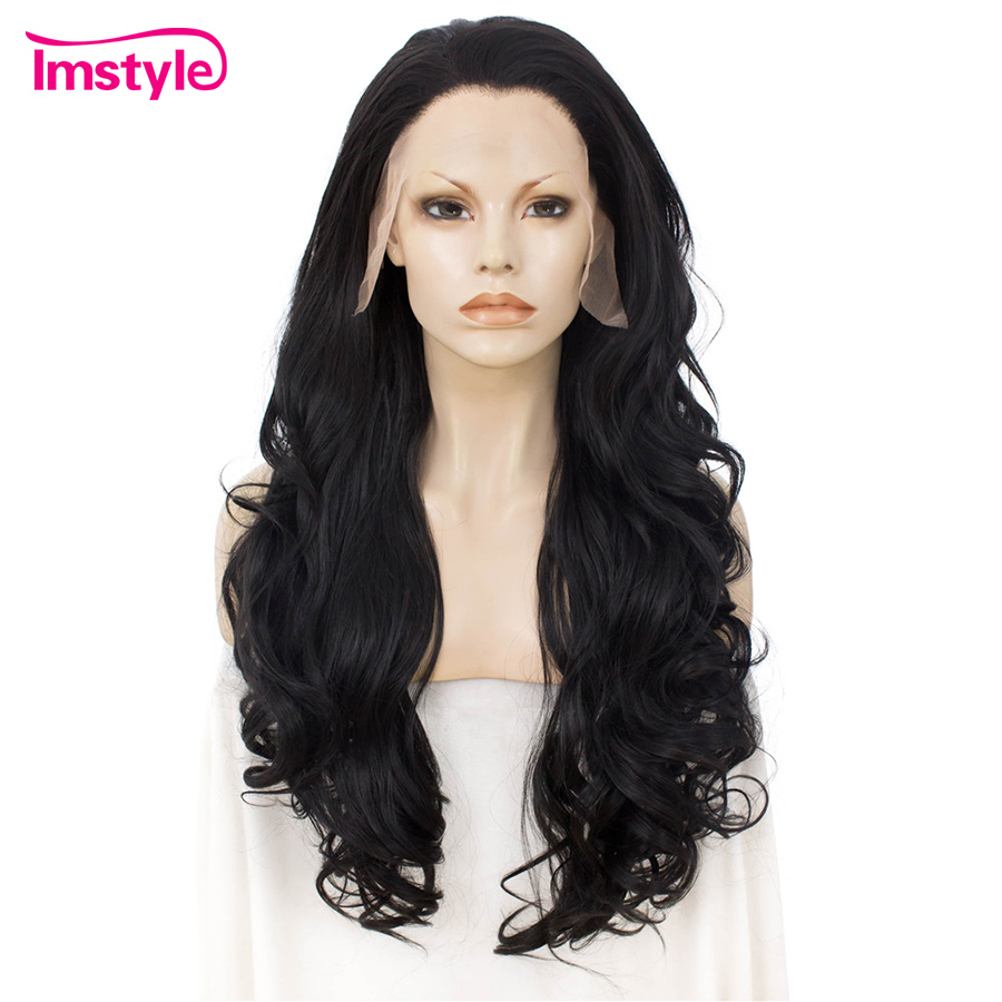 Imstyle Synthetic Lace Front Wig Long Wavy Black Wigs For Women Heat Resistant Fiber Lace Wig Free Part Natural Hair Wig