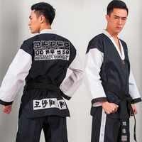 Martial Arts TKD Tae Kwon Do Korea V-neck Adult Taekwondo Dobok for Poomsae & Training,WTF Uniform,160-190cm black+red