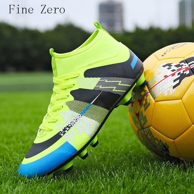 Высокие ботильоны Для мужчин Обувь для футбола новые длинные шипы обучение Футбол Сапоги и ботинки для девочек износостойкая Ботинки футбола высокие Футбол бутсы 31- 43