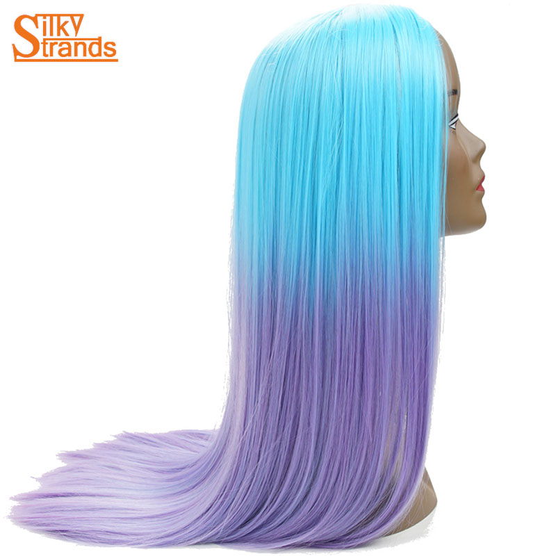 Silky Strands Ombre Synthetic Cosplay Wigs Purple Blue Long Straight Female Wigs For Women ...