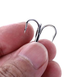 Image 3 - 20 Pcs/Set Fishing Hook Triple Hooks High Carbon Steel Sharp Barbed Tip Tackle Accessories 4#6#8#10#