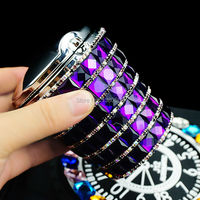 hot Fashion Crystal Diamond With LED Light Car Cup Holder Ashtray For Women Ash Tray