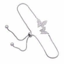 Свадебные ювелирные изделия Кубический Цирконий Кристалл CZ Бабочка Регулируемый браслет для женщин в серебряном цвете или цвета розового золота
