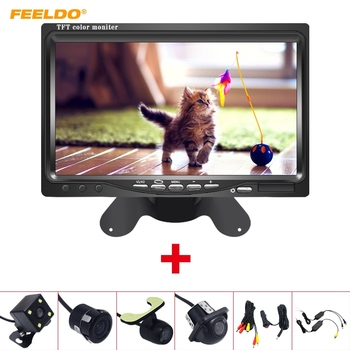 "FEELDO DC12V 7"" LCD Monitor Display With Rear View Parking Camera Video System with 2.4G Wireless & Cigarette Lighter Optional"