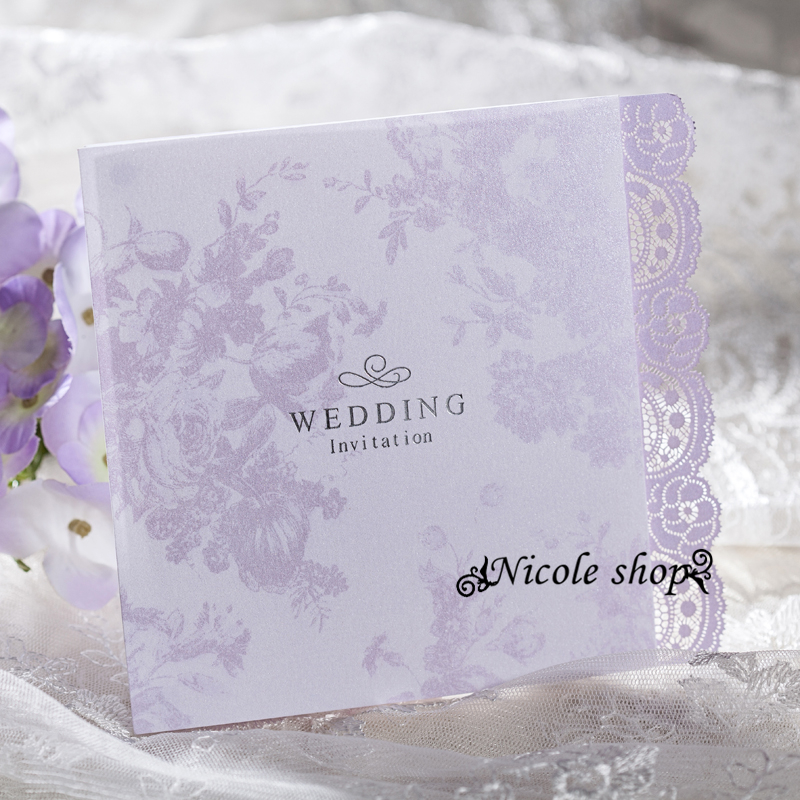 10psc Light Purple Wedding Invitation Card Lace Small Fresh Wedding  Invitations Party Supplies For Bride Diy