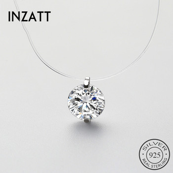 INZATT 925 Sterling Silver Zircon Crystal Pearl Pendant Choker Necklace Transparent Fishing Line 2019 Fashion Jewelry For Women