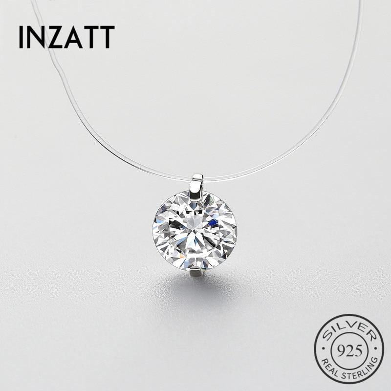 INZATT 925 argent Sterling Zircon cristal perle pendentif collier ras du cou ligne de pêche transparente 2020 bijoux fins pour les femmes