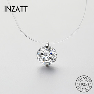 INZATT 925 Sterling Silver Zircon Crystal Pearl Pendant Choker Necklace Transparent Fishing Line 2020 Fine Jewelry For Women