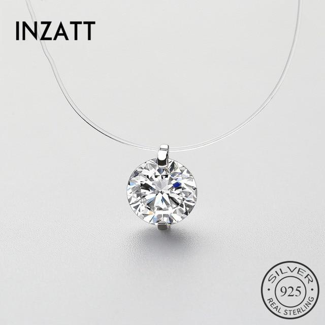 Inzatt 925 prata esterlina zircão cristal pérola pingente gargantilha colar transparente linha de pesca 2020 jóias finas para mulher