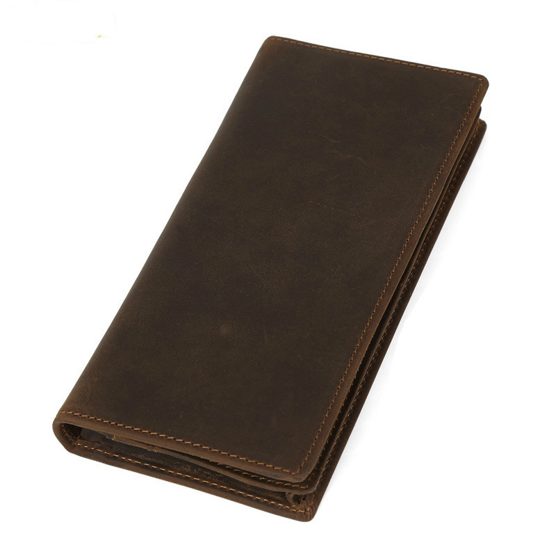 Genuine Leather Long Male Wallets Brown Cowhide Men Purse With Credit Card Holder Photo Pouch Bifold