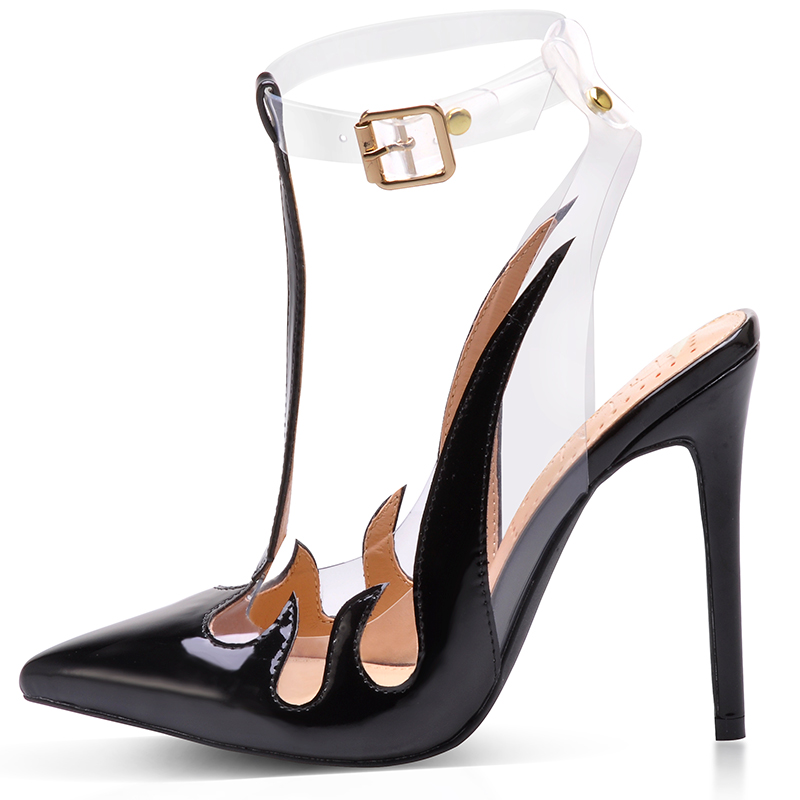 Różowy Palms buty marki kobiety sandały Trend sandały z pcw przezroczyste wysokie obcasy szpiczasty buty z palcami bez pięty u kobiet pompy w Wysokie obcasy od Buty na  Grupa 2