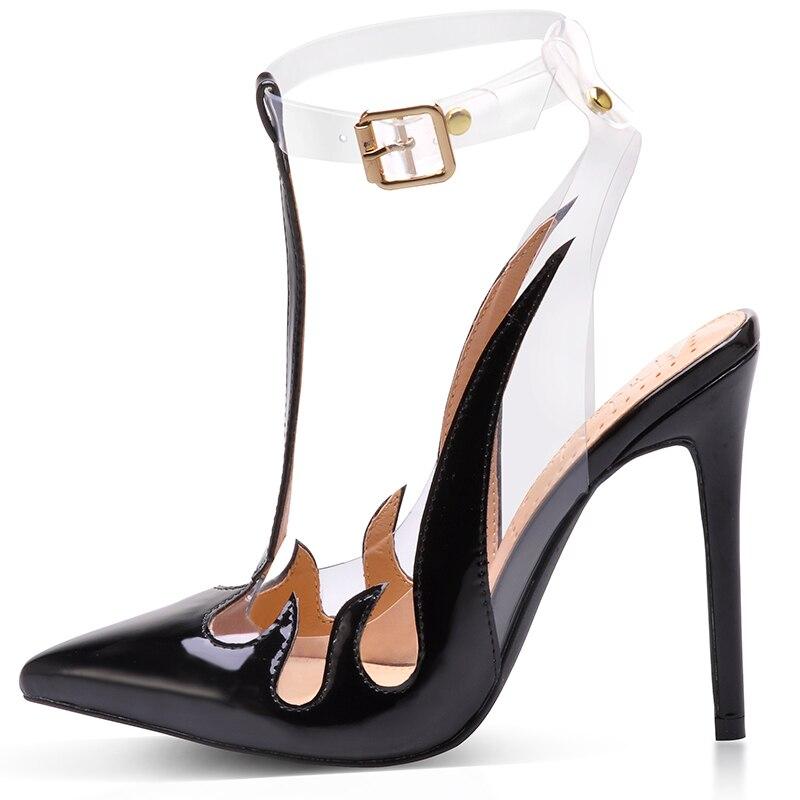 Zapatos de marca Pink Palms sandalias de Mujer Sandalias de PVC de tendencia tacones altos transparentes zapatos de punta puntiagudos en bombas de mujer-in Sandalias de mujer from zapatos    2