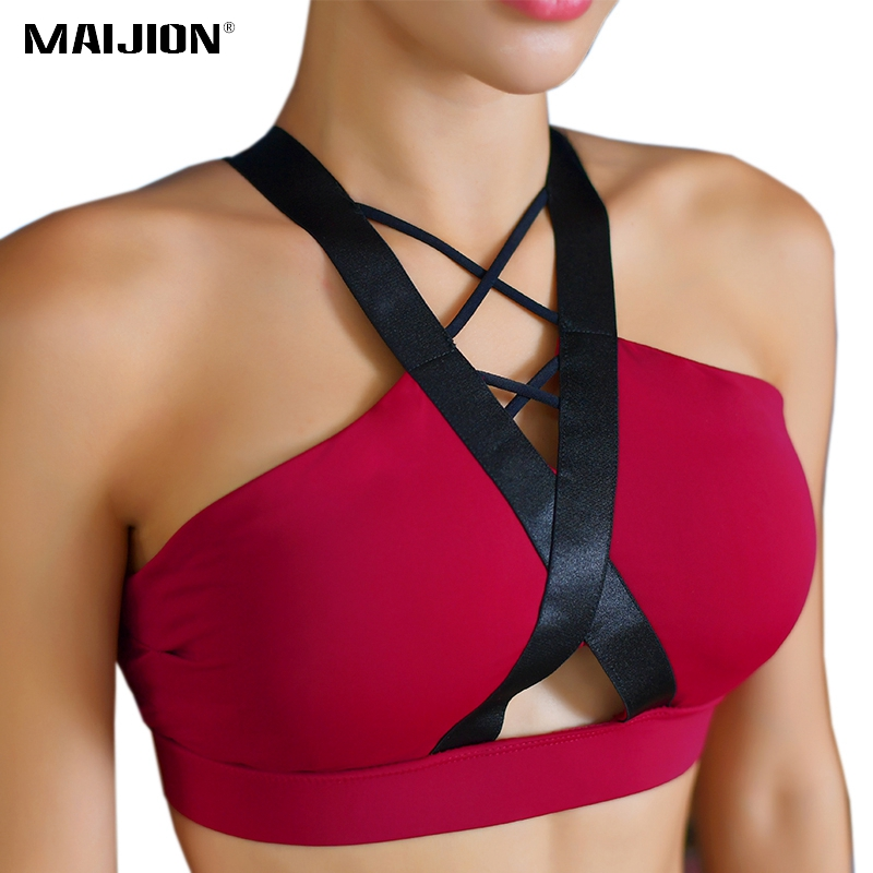 a64d0b3b3c734 ... 2018 New Women Sexy Backless Sports Bra Cross Strap Push Up Padded Yoga  Bra Quick Dry Workout Fitness Running Vest Tops. Sale!   