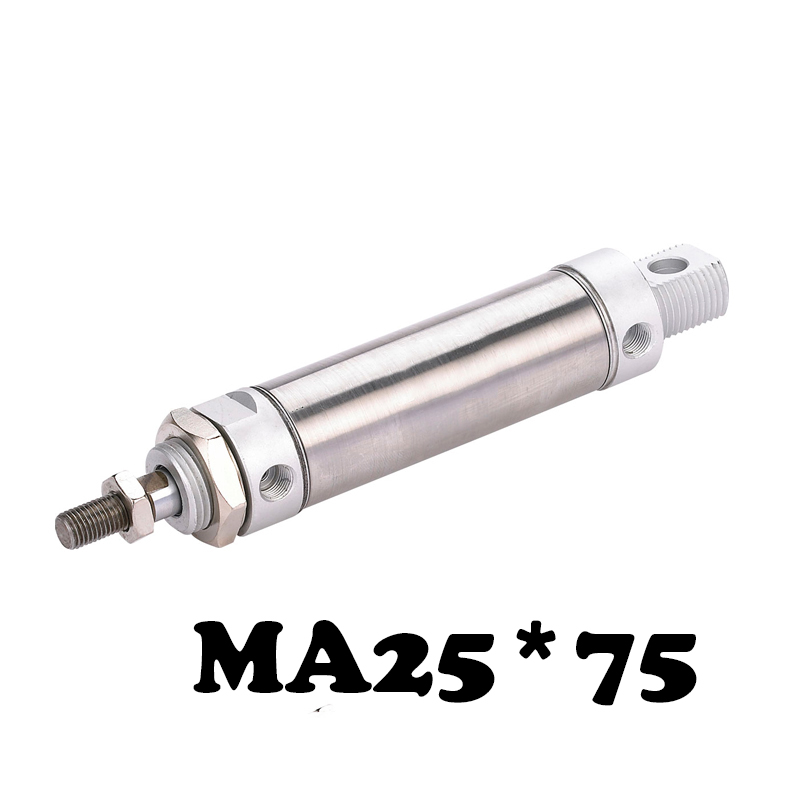 MA25*75  Stainless steel mini cylinder Stainless Steel Pneumatic Cylinder MA Type 25mm Bore 75mm Stroke Air CylinderMA25*75  Stainless steel mini cylinder Stainless Steel Pneumatic Cylinder MA Type 25mm Bore 75mm Stroke Air Cylinder