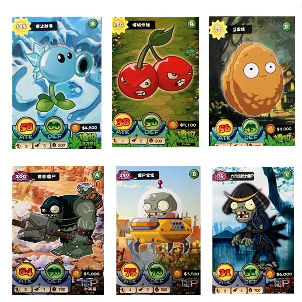Us 2 69 10 Off 32 Pcs Lot Plants Vs Zombies Cards 3d Soldiers Against Action Figures Collect Game Card Pea Shooter Sunflower Kid Toy In Game