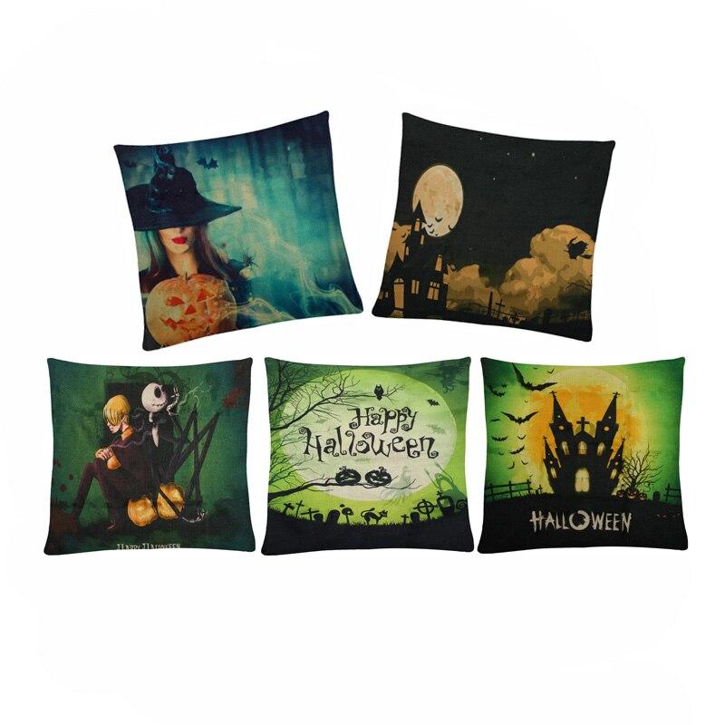 Cushion Cover Halloween Pillow Case Cover Witch Pumpkin Bats Home Decorative For Sofa Car Seat Throw Pillows 45*45cm