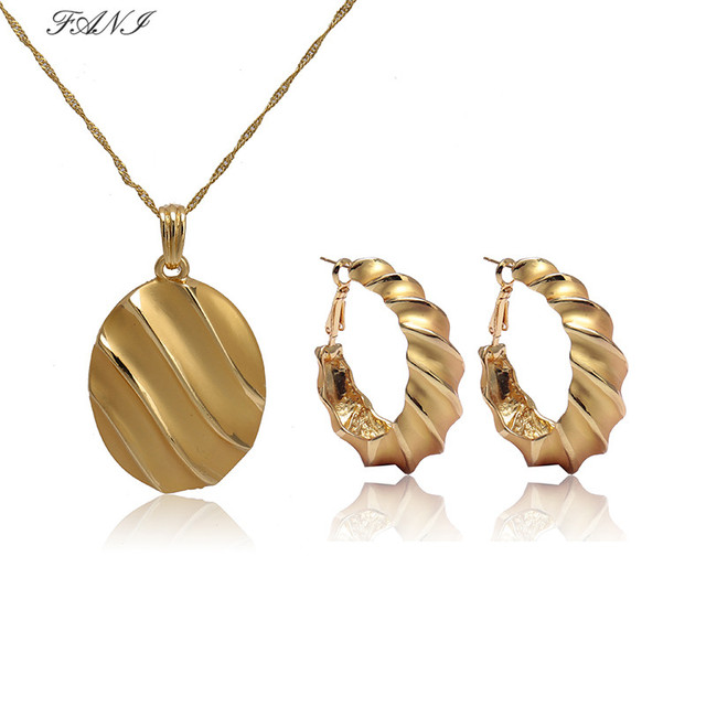 Fani 2018 African Female Costume Jewelry Set For Women Gold Necklace Earrings Catholic Religious