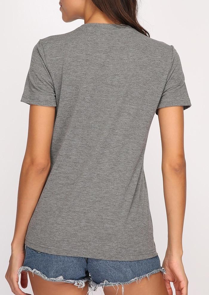 Plus Size Summer Women T-Shirt Toppe Love Ananas Print Grå Top - Dametøj - Foto 5