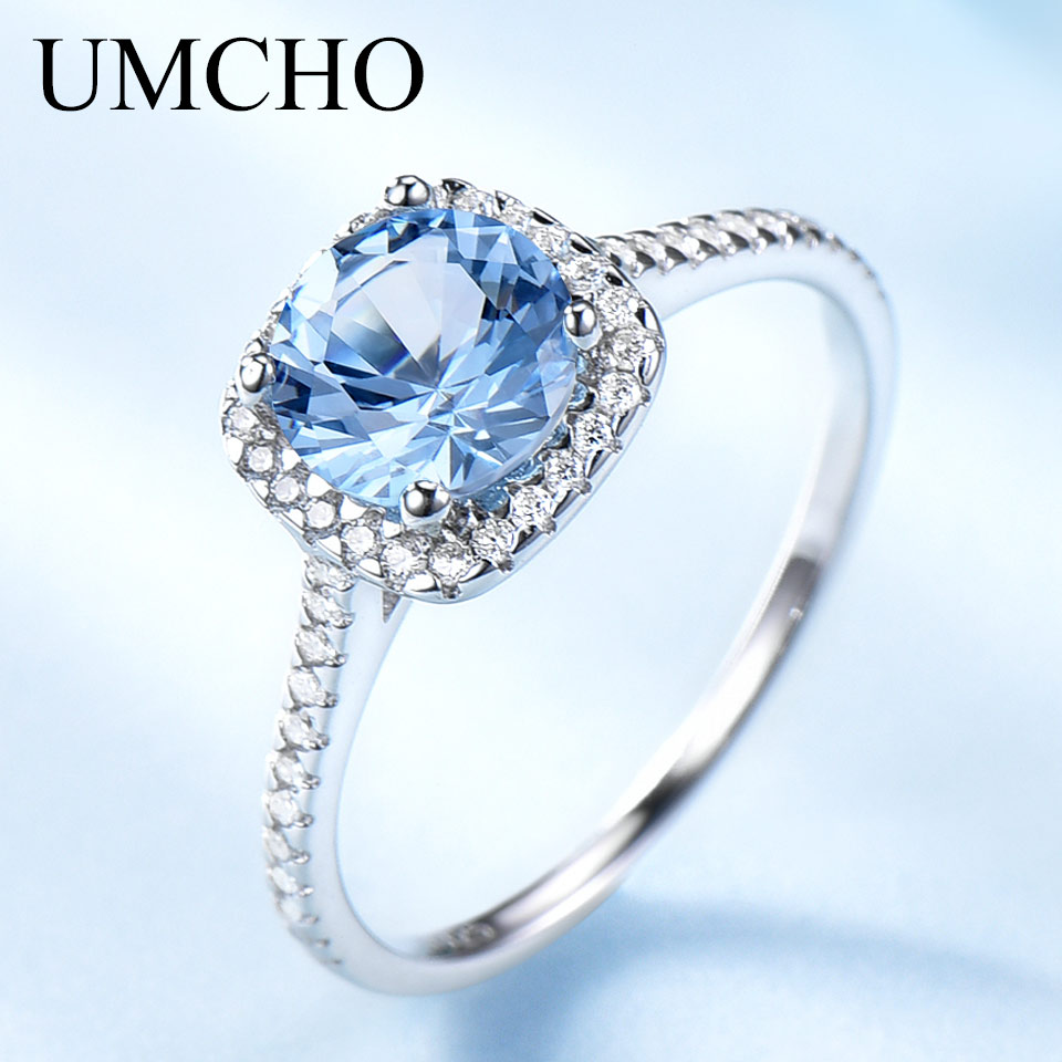 UMCHO Romantic Real 100% 925 Sterling Silver Rings Round Aquamarine Bridal Wedding Ring For Female Engagement Gifts Fine Jewelry