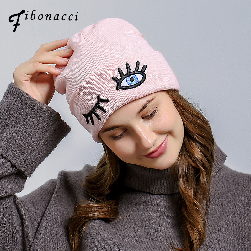 dba2d643e66 Fibonacci Women Knit Hat Beanie Three dimensional eye embroidery 2017 New  Fashion Adult Pink Knitted Ski Bonnet Caps-in Skullies   Beanies from  Apparel ...