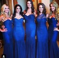 Royal Blue Soft Chiffon Mermaid Bridesmaid Dresses Long Sweetheart Pleat Vintage Wedding Bridesmaid Gown Special Party Dress
