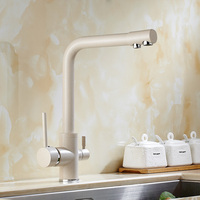 Solid Brass Beige White Kitchen Faucet Double Spout Drinking Water Filter Kitchen Faucet Tri Flow Tap