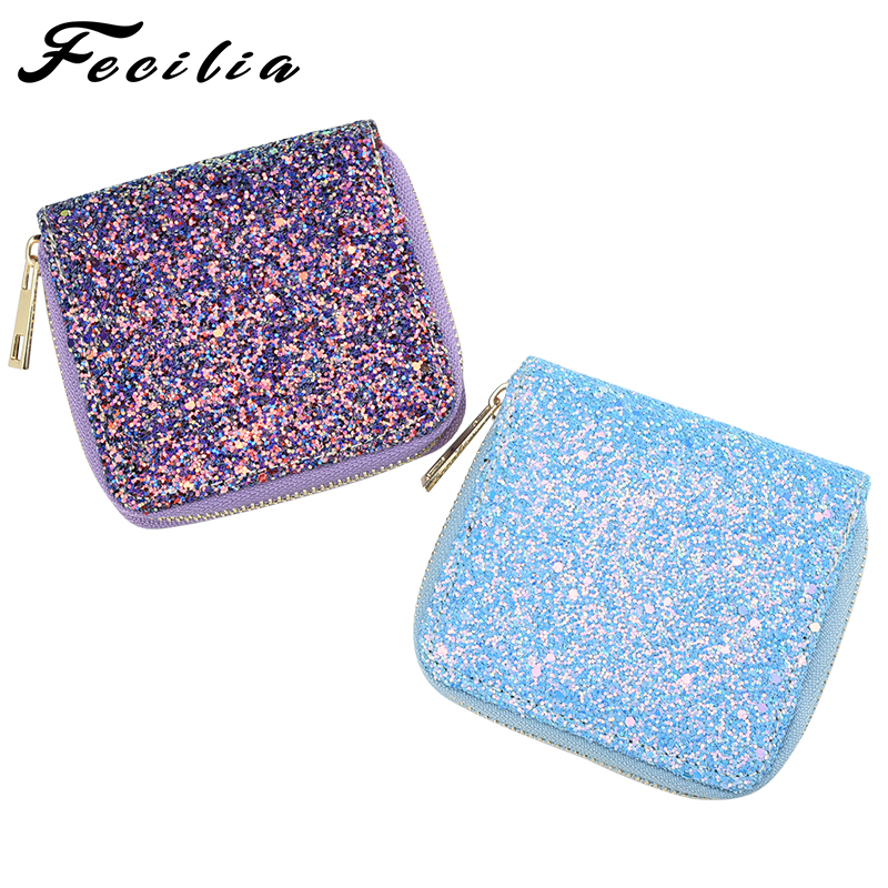 Fecilia Beautiful Shiny Small Square Bag Clutch Bag Mini Coin key Purse Girls Wallet Unique Evening Bag Gift Handbags for Women